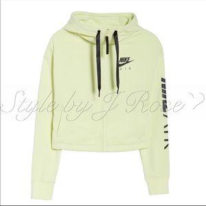 Nike Tops - NWT's Nike Air Full Zip Crop Yellow Hoodie